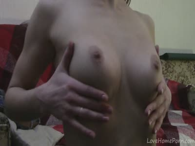 Skinny Brunette Dances Strips And Masturbates